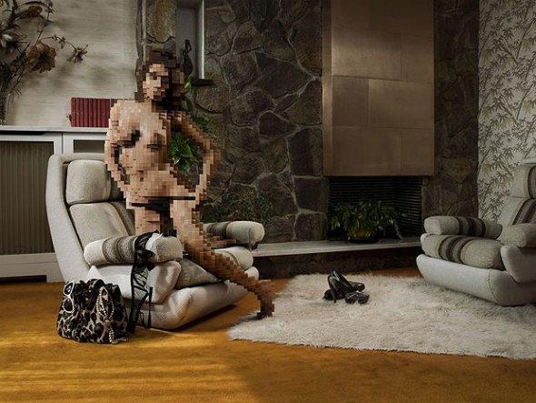 巴黎的攝影師的裸體-像素化
