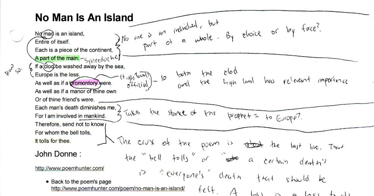 no man is island essay Get the latest comedy central shows, the daily show, inside amy schumer,  south park, broad city and comedy central classics like chappelle's show and .