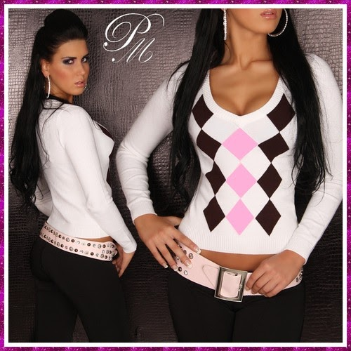 psl mod pull femme top sexy col en v blanc a carreaux noir rose s m l xl. Black Bedroom Furniture Sets. Home Design Ideas