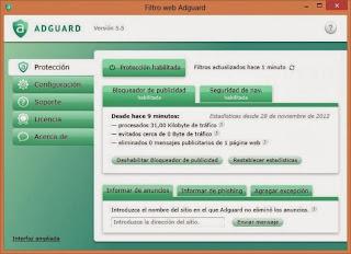 صورة من داخل برنامج حجب الاعلانات Adguard 5.8