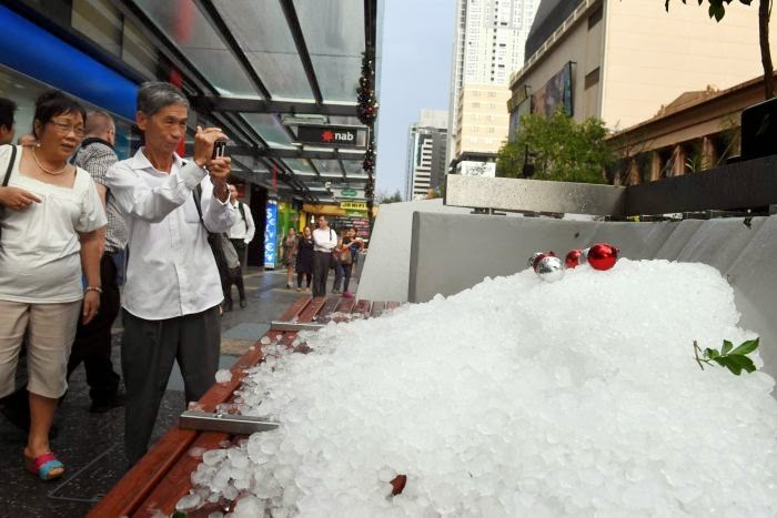 A pile of giant-sized hail in post storm Brisbane