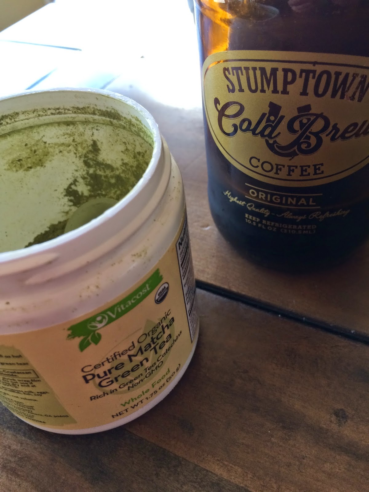 matcha powder and cold brewed coffee