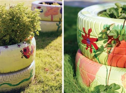 enfeites para jardins de pneus:Reciclagem e Sucata: Como usar pneus velhos na decoração do jardim