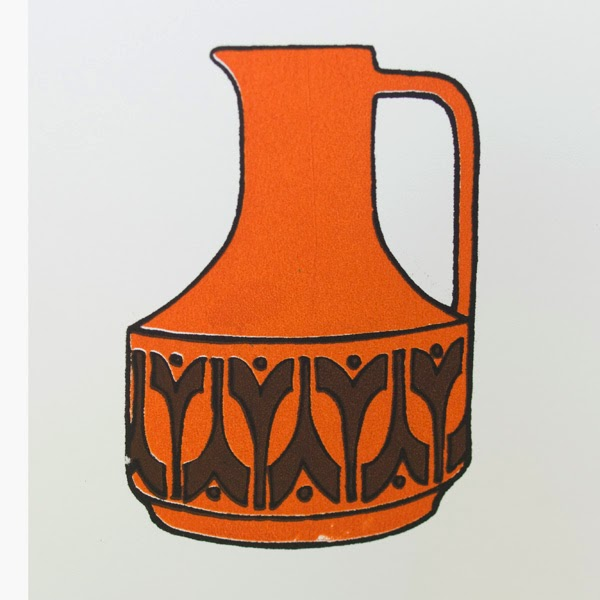 Vintage Style Jug Screen Print A5 by Welaughindoors close up