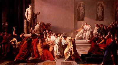 Lukisan tentang pembunuhan ulius Caesar oleh Brutus.