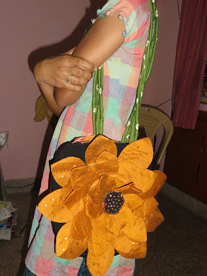 Handmade Fabric Flower Sunflower Bag by Anusha's Creative Blog