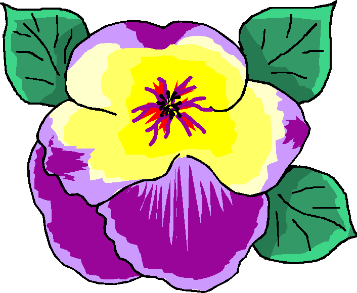 Flower Clipart Purple Yellow Free Clipart