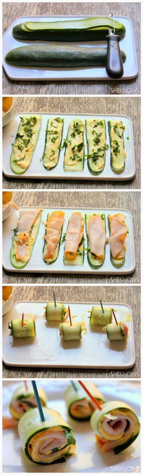 Cucumber roll-ups with Greek yogurt