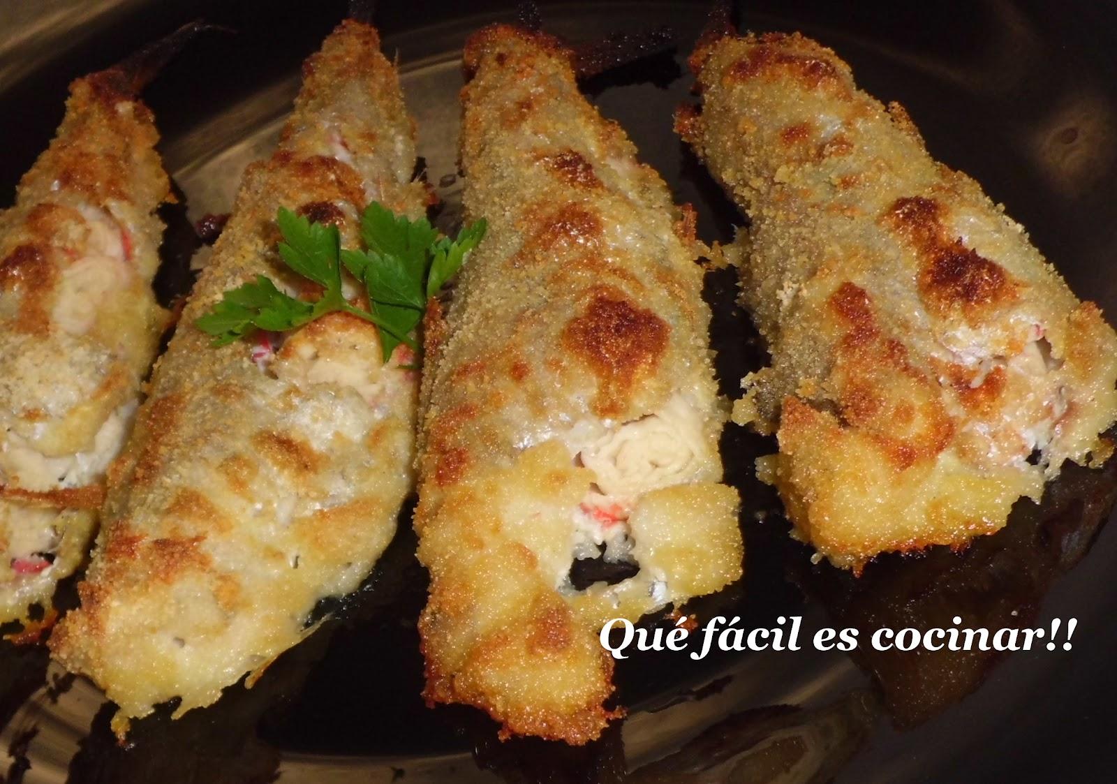 Perezosos a cocinar bacaladilla rellena de surimi al horno for Cocinar gambas al horno
