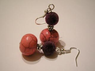 biżuteria z półfabrykatów - różowe oponki (kolczyki)
