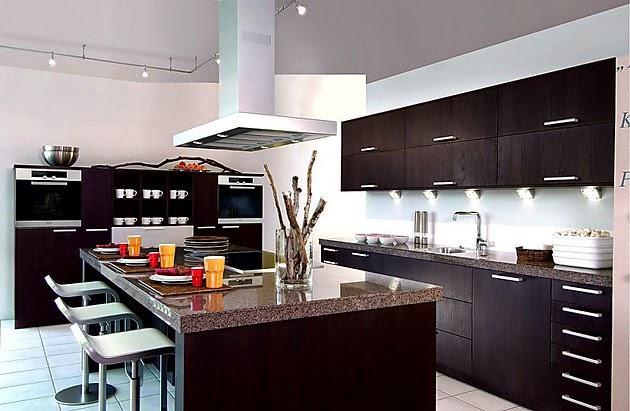 Cocinas modernas con isla central   colores en casa
