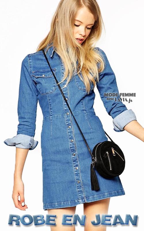 Robe courte en jean à manches longues