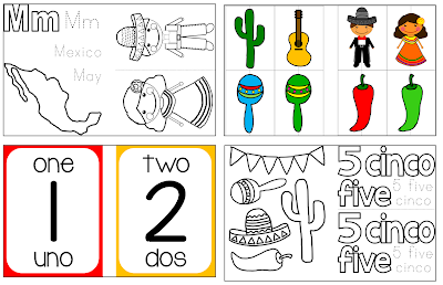 Spanish posters worksheets numerals colors bilingual