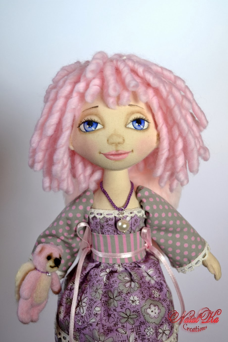 Cloth art doll pink angel handmade by NatalKa Creations. Авторская текстильная кукла