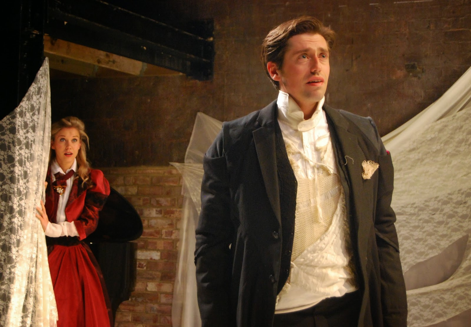 Lucy Knight as Sophie and Adam Tunnicliffe as Werther in Massenet's Werther at the Grimeborn Festival at Arcola Theatre