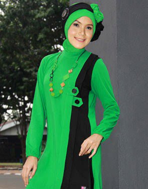 Zenitha Koleksi Busana Muslim Ukuran Big Size hijau hitam