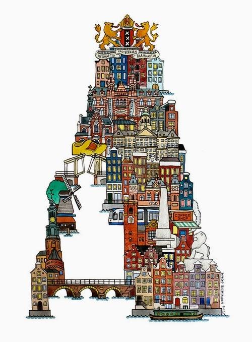 01-A-Amsterdam-Netherlands-Hugo-Yoshikawa-Illustrated-Architectural-Alphabet-City-Typography-www-designstack-co