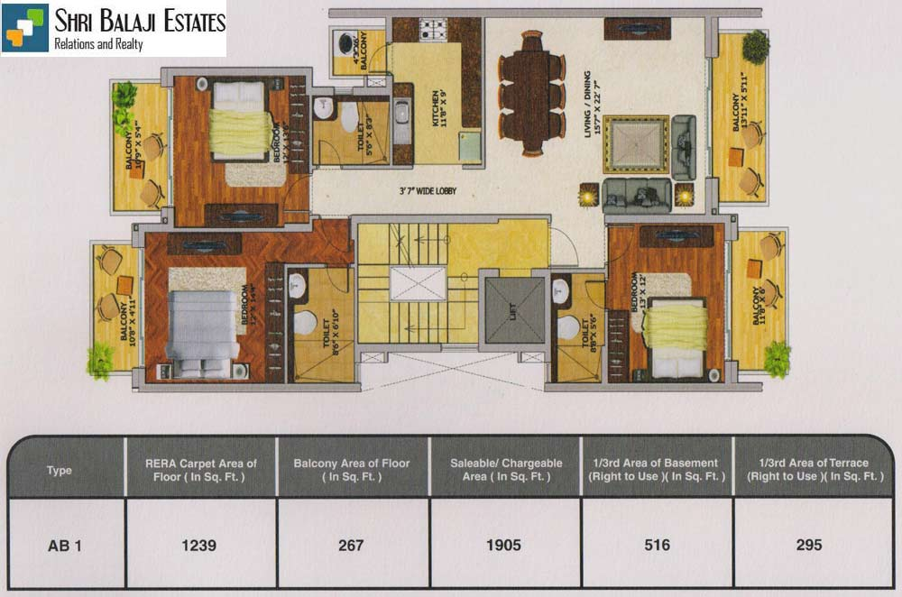 Floor Plan  (  3BHK - AB1  )