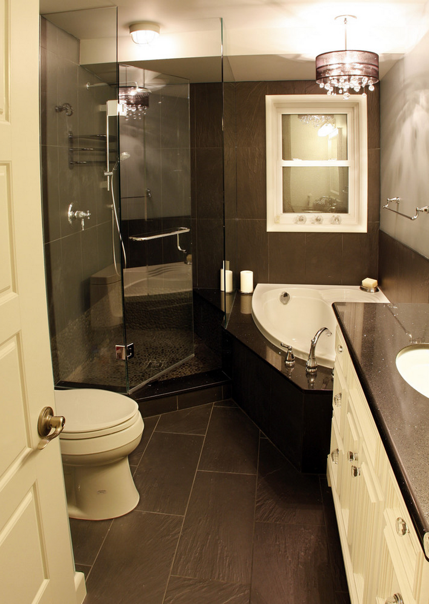 Bathroom design in small space home decorating for Images of small bathrooms