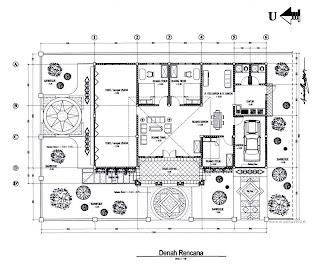 desain properti dan interior: denah rumah dan toko.