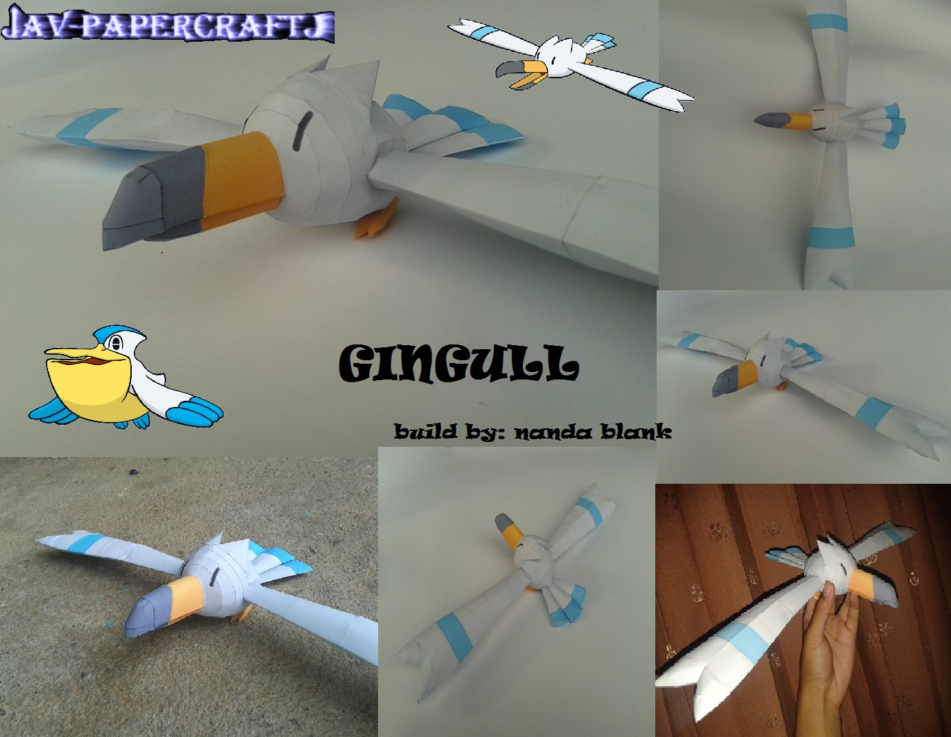 Pokemon Wingull Paper Model