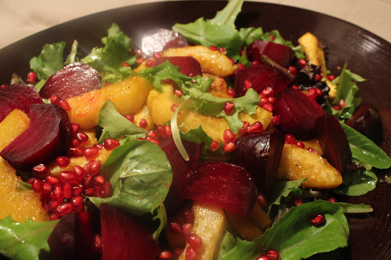 menuinseason: roasted acorn squash and beet salad