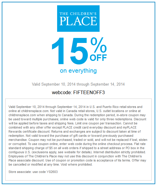 Children's place coupon code instore