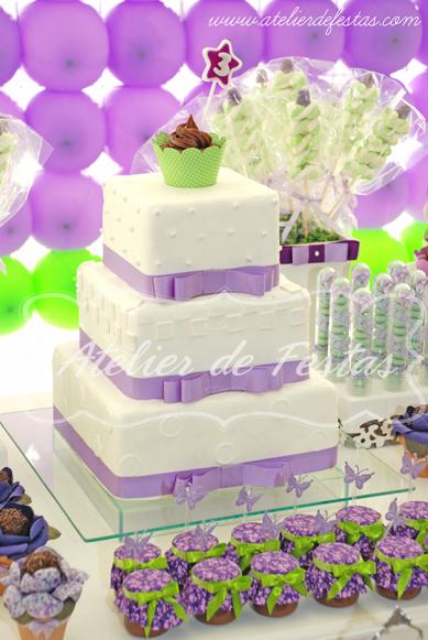 decoracao de festa branca e lilas:Atelier de Festas: Festa Princesas – Lilás e verde