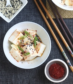 korean style cold tofu appetizer with korean chili flakes