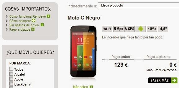 El Moto G vuelve al 'Renuevo' de Yoigo