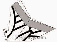 Bước 10: Vẽ như hình vẽ để hoàn thành cách xếp con bướm swallowtail bằng giấy theo phong cách origami.