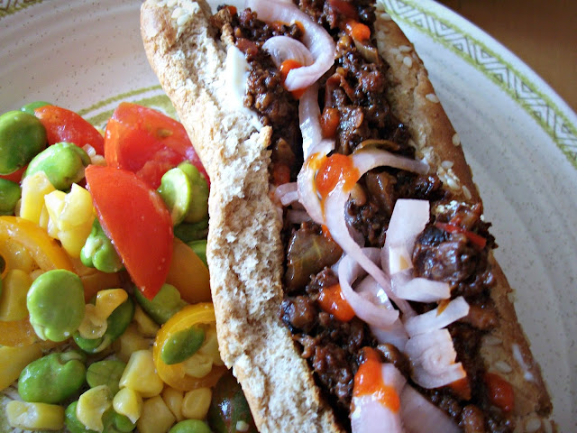 ... sloppy joes made with cauliflower-walnut slop , quick-pickled shallots