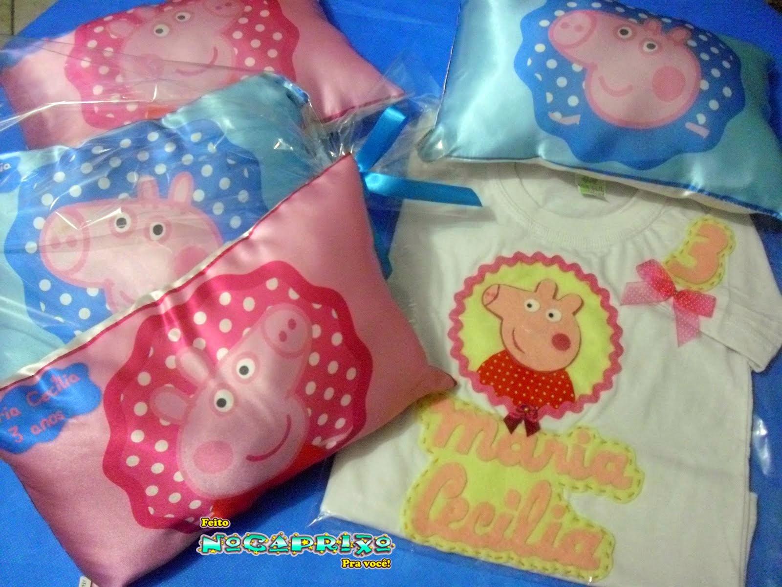 Mini-travesseiros e blusa personalizada Peppa Pig