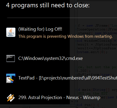 Slow shut down caused by Programs