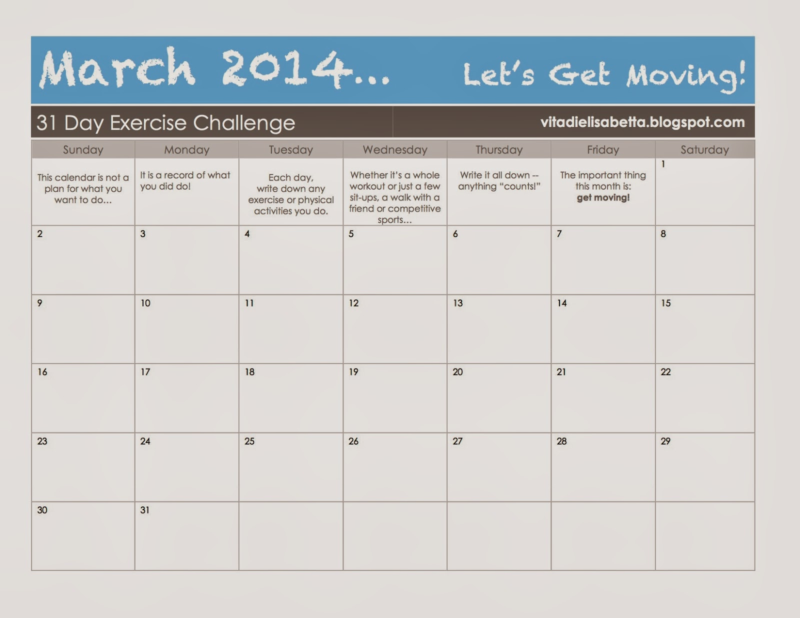 Let's Get Moving: March 2014