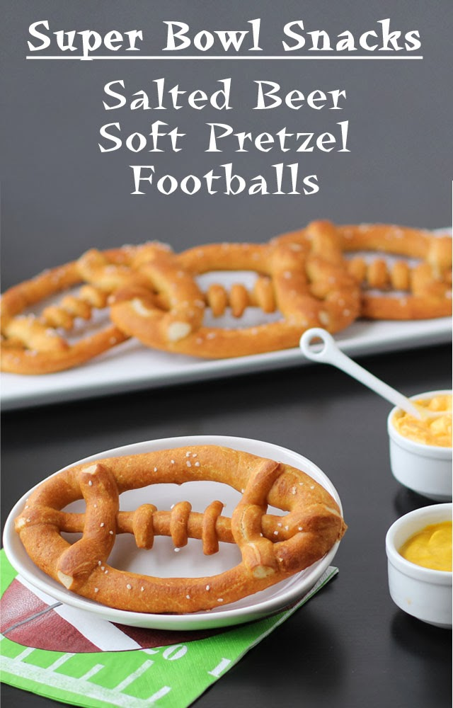 Beer Mug Cheese Stuffed Football Pretzels | HungryHappenings.com
