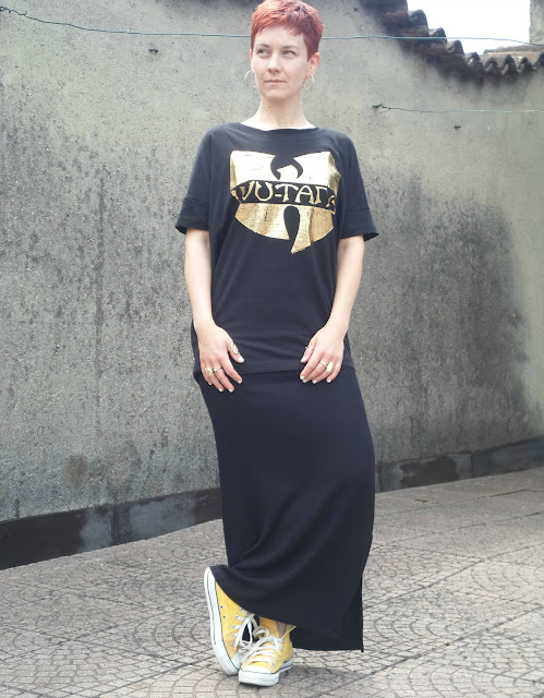Black Maxi Dress worn as skirt, black tee with gold Wu-Tang print, yellow Converse High Tops | Just Hanging Out - Funky Jungle, fashion and personal style blog