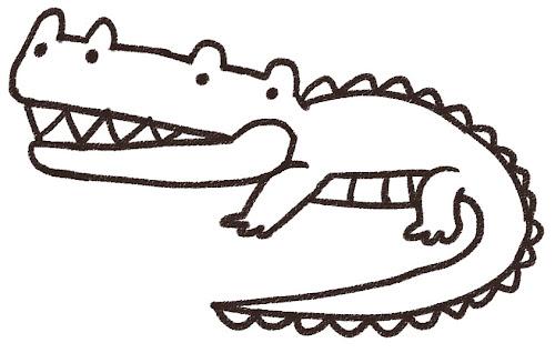 ワニのイラスト(動物) 白黒線画