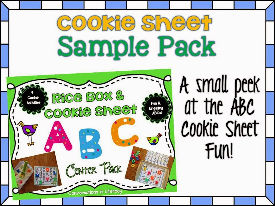 Sample of an ABC Cookie Sheet and Rice Box Activity Pack