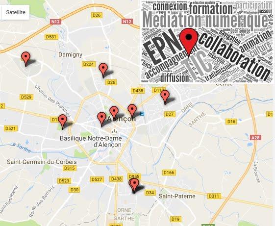 Carte des EPN sur Alençon