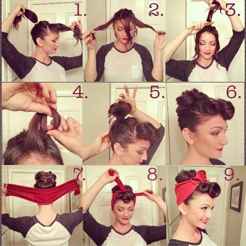 Hagamos este peinado pin up con moño