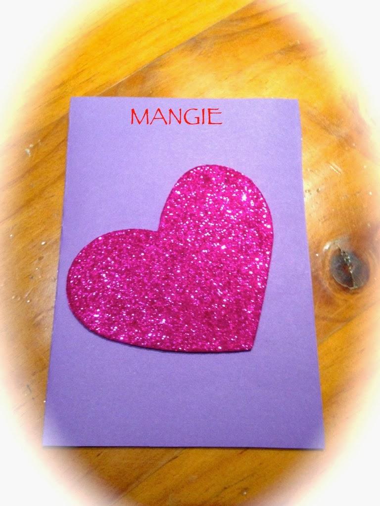 Tarjeta corazón purpurina