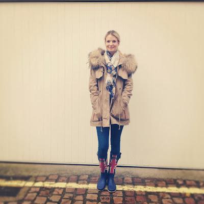 Joules, Wellies, Wellington boots, Gap Jeans, Parka
