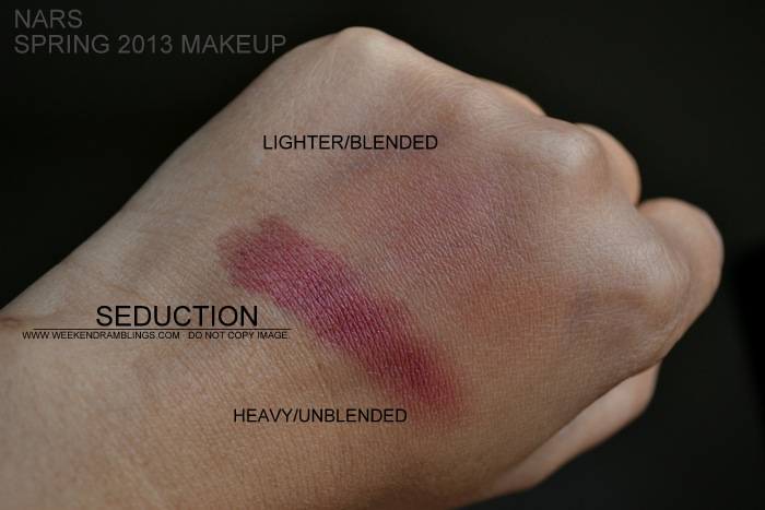 NARS Spring 2013 Makeup Collection Indian Beauty Blog Darker Skin Swatches Photos Seduction Sangria Blush