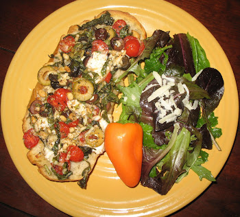 Olive Pizza and Spring Mix w/Garlic Lemon Vinaigrette
