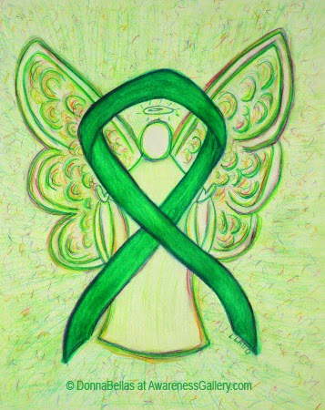 Green Awareness Ribbon Guardian Angel Art Original Painting