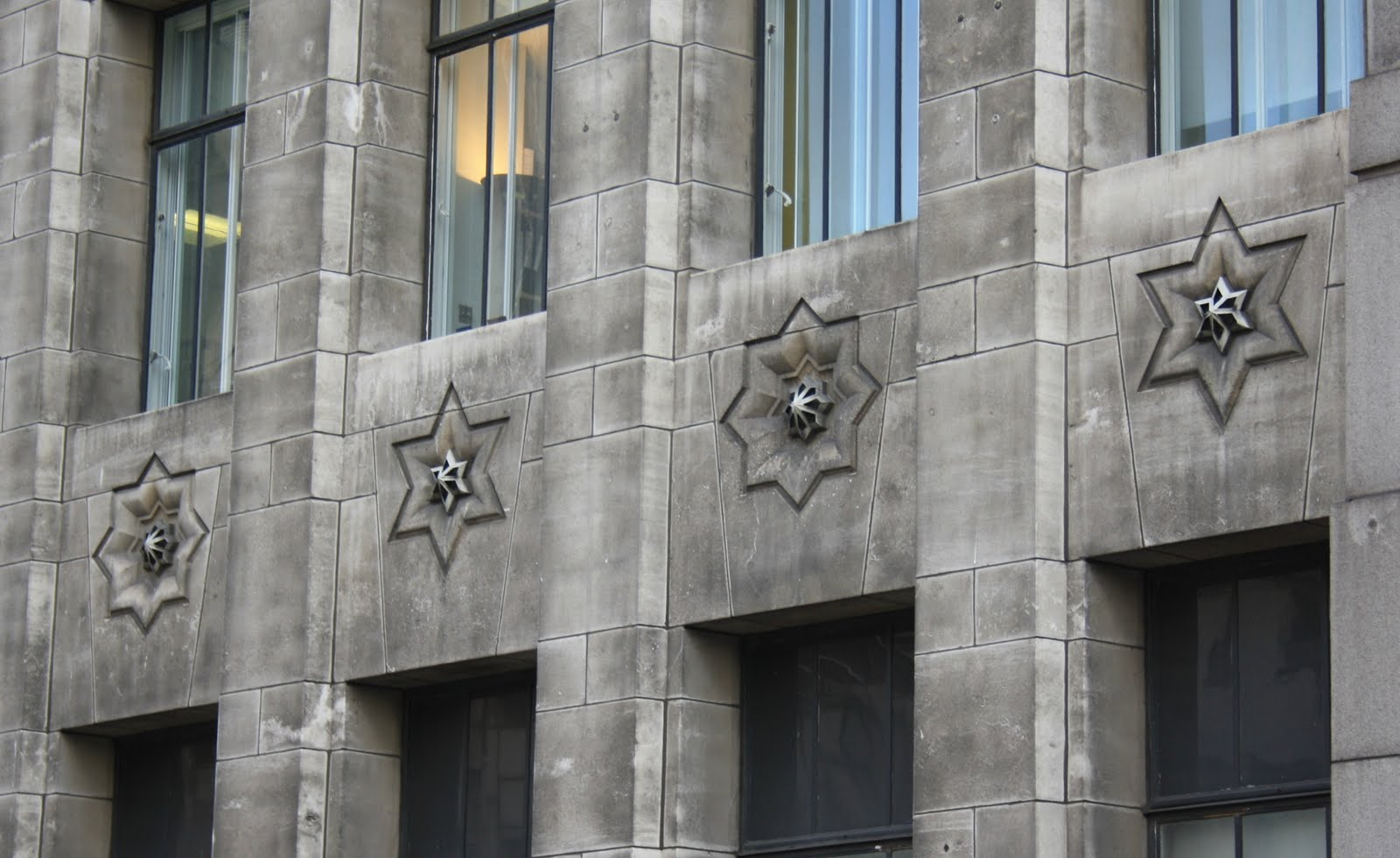 Stars: Detail of a building just next to London Bridge Red, white and blue: