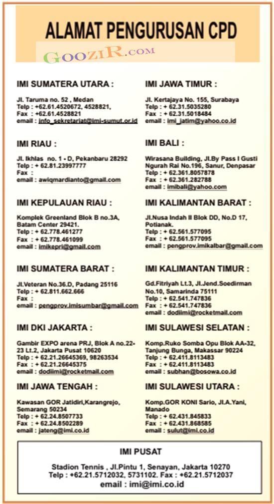 daftar kantor IMI tempat daftar CPD Carnet