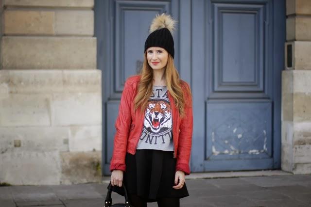 sudadera de tigre y biker roja