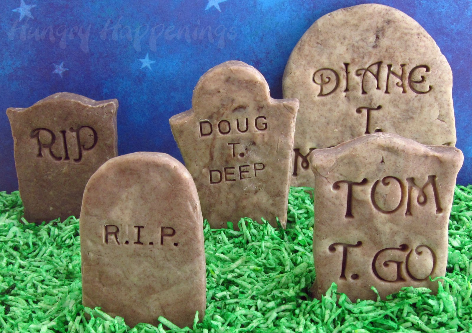 cookies 'n cream fudge tombstones - add clever epitaphs to candy